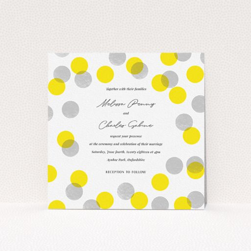 """A wedding invite card design titled """"Cork Stamps"""". It is a square (148mm x 148mm) invite in a square orientation. """"Cork Stamps"""" is available as a flat invite, with tones of white and yellow."""