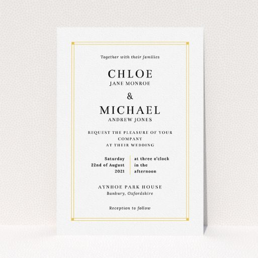 """A wedding invite card named """"Corner Points"""". It is an A5 invite in a portrait orientation. """"Corner Points"""" is available as a flat invite, with tones of white and yellow."""