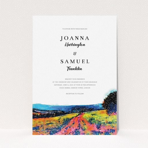 """A wedding invite card design called """"Country Road"""". It is an A5 invite in a portrait orientation. """"Country Road"""" is available as a flat invite, with tones of white, blue and deep orange."""