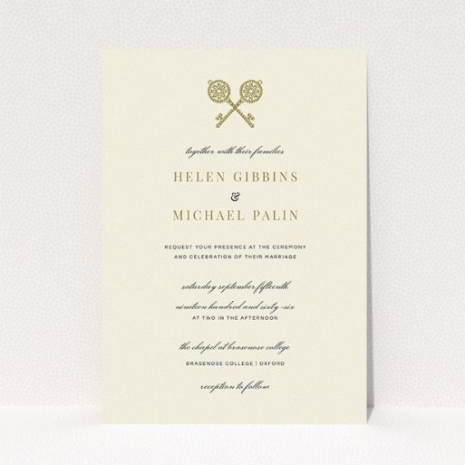 """A wedding invite card named """"Cross Keys"""". It is an A5 invite in a portrait orientation. """"Cross Keys"""" is available as a flat invite, with tones of cream and gold."""