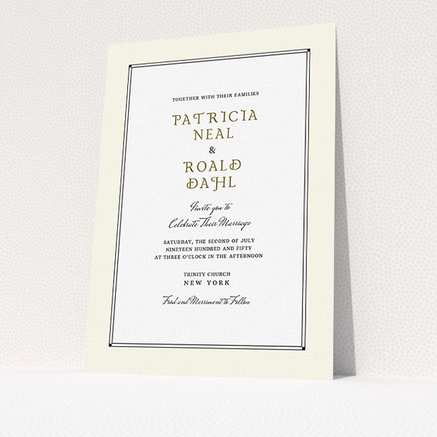 """A wedding invite card template titled """"Deco Cream"""". It is an A5 invite in a portrait orientation. """"Deco Cream"""" is available as a flat invite, with mainly cream colouring."""