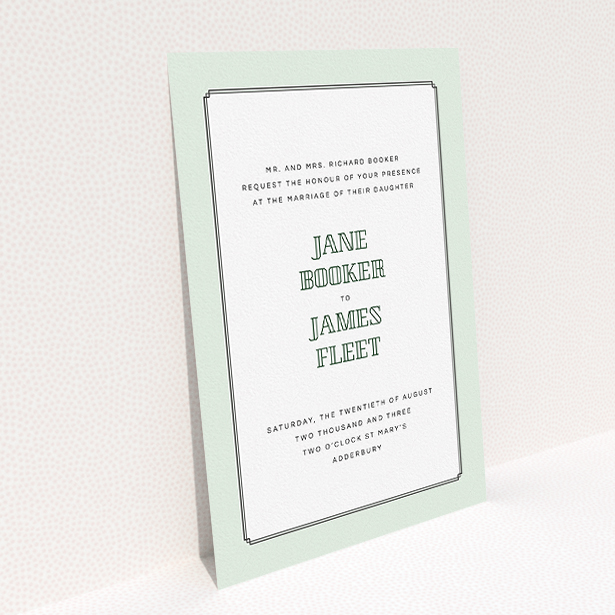 """A wedding invite card design named """"Deco mint"""". It is an A5 invite in a portrait orientation. """"Deco mint"""" is available as a flat invite, with tones of green and white."""
