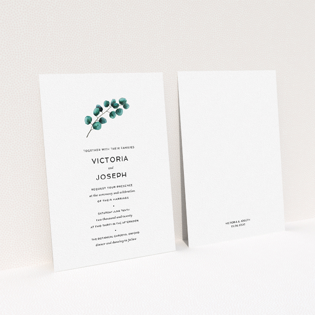 """A wedding invite card template titled """"Eucalyptus Central"""". It is an A5 invite in a portrait orientation. """"Eucalyptus Central"""" is available as a flat invite, with tones of white and green."""