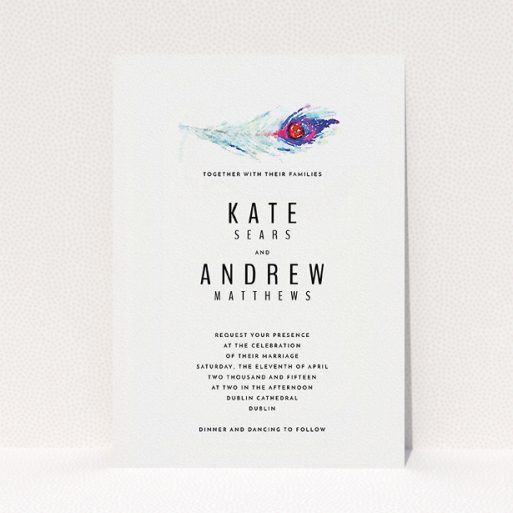 """A wedding invite card template titled """"Feather in the corner"""". It is an A5 invite in a portrait orientation. """"Feather in the corner"""" is available as a flat invite, with mainly white colouring."""
