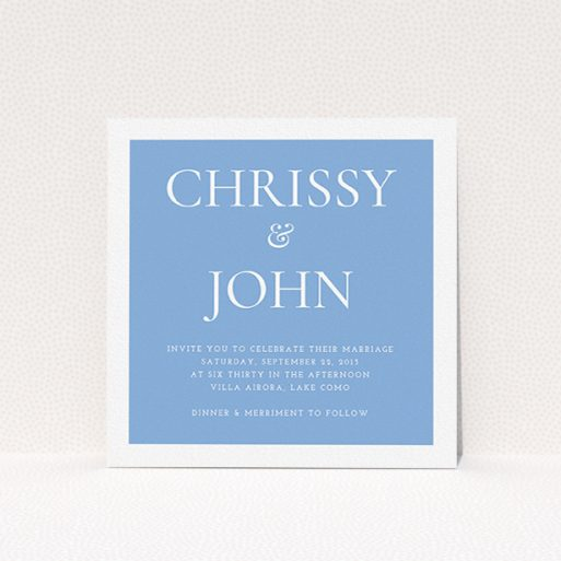 """A wedding invite card named """"Front and centre"""". It is a square (148mm x 148mm) invite in a square orientation. """"Front and centre"""" is available as a flat invite, with tones of blue and white."""