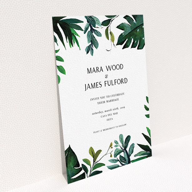 """A wedding invite card named """"Gap in the Jungle"""". It is an A6 invite in a portrait orientation. """"Gap in the Jungle"""" is available as a flat invite, with tones of green and white."""
