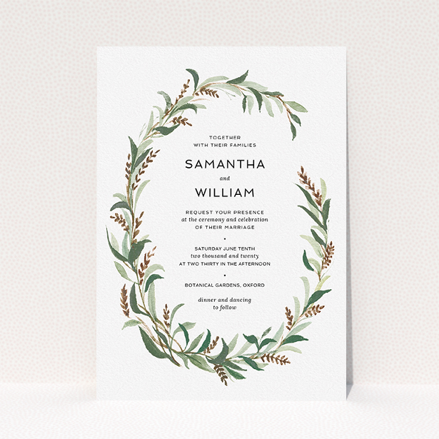 """A wedding invite card template titled """"Garden Garland"""". It is an A5 invite in a portrait orientation. """"Garden Garland"""" is available as a flat invite, with tones of faded green, light brown and light green."""