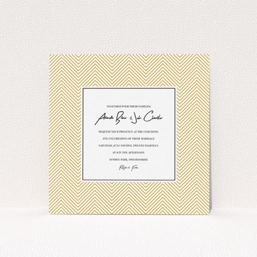 """A wedding invite card template titled """"Golden Lines"""". It is a square (148mm x 148mm) invite in a square orientation. """"Golden Lines"""" is available as a flat invite, with tones of gold and white."""
