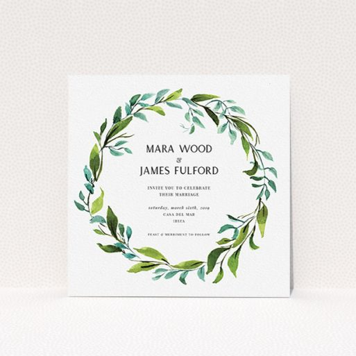"""A wedding invite card called """"Greek Wreath"""". It is a square (148mm x 148mm) invite in a square orientation. """"Greek Wreath"""" is available as a flat invite, with tones of blue and green."""