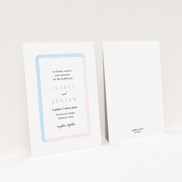 """A wedding invite card called """"Intersection"""". It is an A5 invite in a portrait orientation. """"Intersection"""" is available as a flat invite, with tones of blue and pink."""