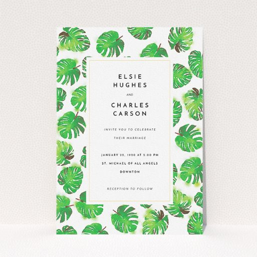 """A wedding invite card called """"Jungle Sky"""". It is an A5 invite in a portrait orientation. """"Jungle Sky"""" is available as a flat invite, with tones of green and white."""