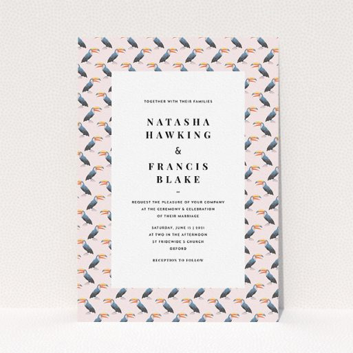 """A wedding invite card design named """"Lots of Toucans"""". It is an A5 invite in a portrait orientation. """"Lots of Toucans"""" is available as a flat invite, with tones of pink, blue and orange."""