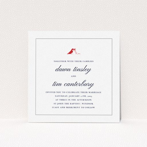 """A wedding invite card design titled """"Lovebirds"""". It is a square (148mm x 148mm) invite in a square orientation. """"Lovebirds"""" is available as a flat invite, with tones of white and red."""