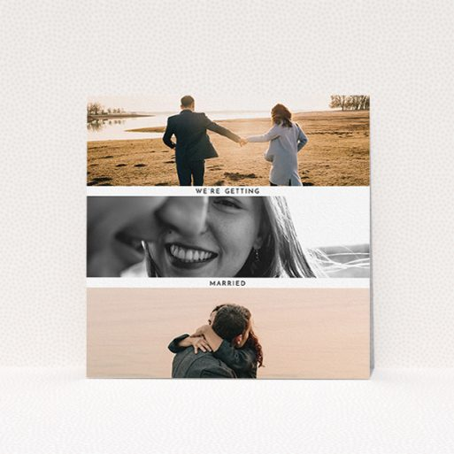 """A wedding invite card called """"Magic number"""". It is a square (148mm x 148mm) invite in a square orientation. It is a photographic wedding invite card with room for 3 photos. """"Magic number"""" is available as a flat invite, with mainly white colouring."""