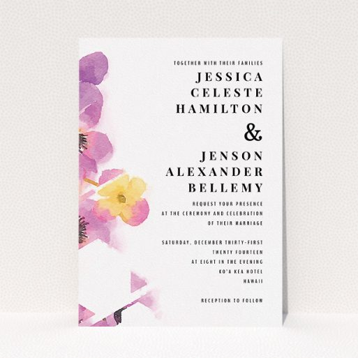 """A wedding invite card design named """"Modern bouquet"""". It is an A5 invite in a portrait orientation. """"Modern bouquet"""" is available as a flat invite, with tones of yellow and purple."""