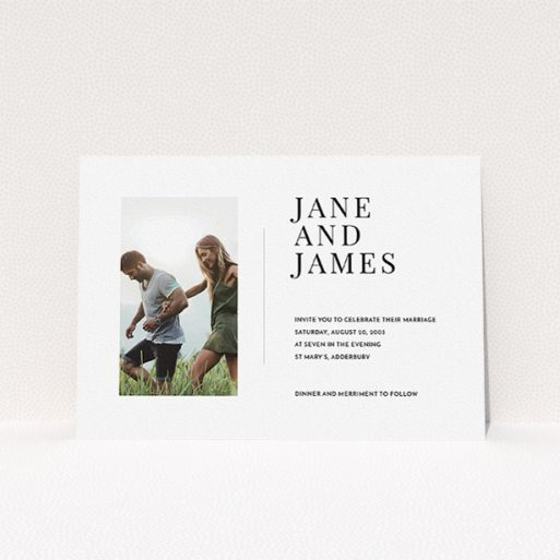 """A wedding invite card template titled """"Modern postcard"""". It is an A5 invite in a landscape orientation. It is a photographic wedding invite card with room for 1 photo. """"Modern postcard"""" is available as a flat invite, with mainly white colouring."""