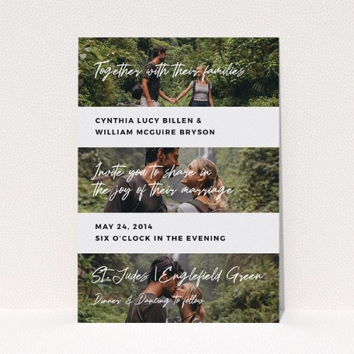 """A wedding invite card design called """"Newsreel"""". It is an A5 invite in a portrait orientation. It is a photographic wedding invite card with room for 3 photos. """"Newsreel"""" is available as a flat invite, with tones of black and white."""