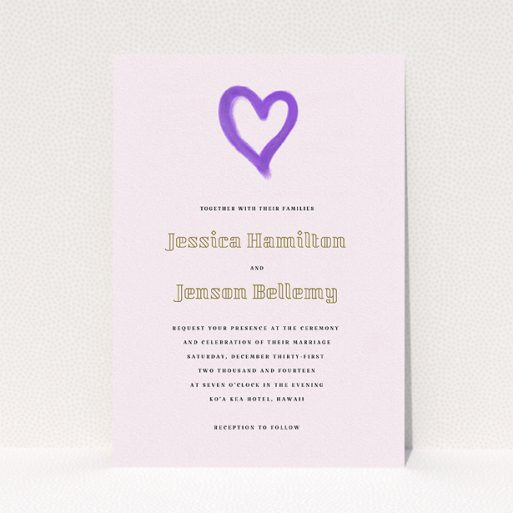 """A wedding invite card template titled """"One little heart"""". It is an A5 invite in a portrait orientation. """"One little heart"""" is available as a flat invite, with mainly purple/dark pink colouring."""