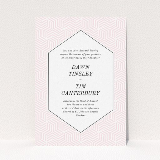"""A wedding invite card called """"Pink geometric maze"""". It is an A5 invite in a portrait orientation. """"Pink geometric maze"""" is available as a flat invite, with tones of pink and white."""