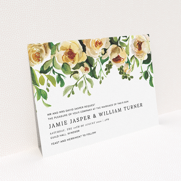 """A wedding invite card template titled """"Rose Garden Wall"""". It is an A5 invite in a landscape orientation. """"Rose Garden Wall"""" is available as a flat invite, with mainly pink colouring."""