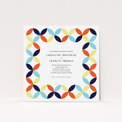 """A wedding invite card design named """"Round and Round"""". It is a square (148mm x 148mm) invite in a square orientation. """"Round and Round"""" is available as a flat invite, with mainly light blue colouring."""