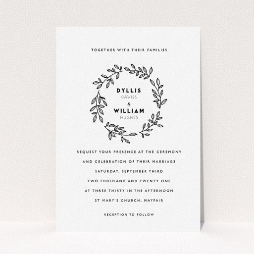 """A wedding invite card called """"Simple Wreath"""". It is an A5 invite in a portrait orientation. """"Simple Wreath"""" is available as a flat invite, with tones of white and black."""