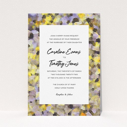 """A wedding invite card named """"Sunrise Oils"""". It is an A5 invite in a portrait orientation. """"Sunrise Oils"""" is available as a flat invite, with tones of yellow, light purple and grey."""