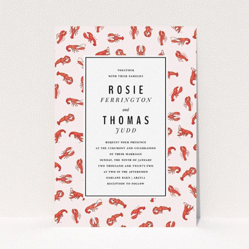 """A wedding invite card named """"Tiny, Tiny Lobsters"""". It is an A5 invite in a portrait orientation. """"Tiny, Tiny Lobsters"""" is available as a flat invite, with tones of red and pink."""