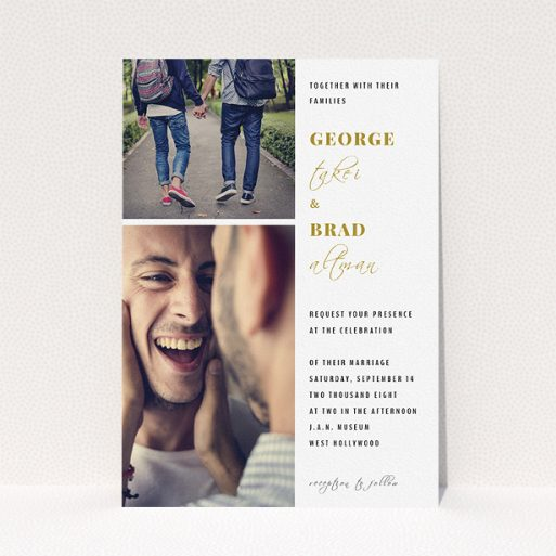 """A wedding invite card design titled """"Together again"""". It is an A5 invite in a portrait orientation. It is a photographic wedding invite card with room for 2 photos. """"Together again"""" is available as a flat invite, with tones of white and gold."""