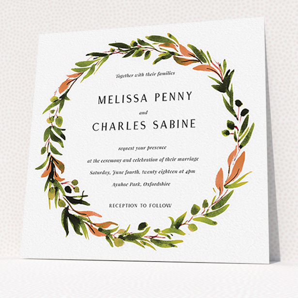 """A wedding invite card design called """"Watercolour Olive Wreath"""". It is a square (148mm x 148mm) invite in a square orientation. """"Watercolour Olive Wreath"""" is available as a flat invite, with tones of green, dark green and terracotta."""