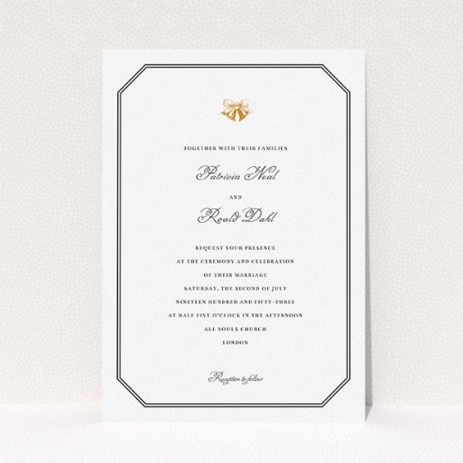 """A wedding invite card called """"Wedding bells"""". It is an A5 invite in a portrait orientation. """"Wedding bells"""" is available as a flat invite, with tones of black and white."""