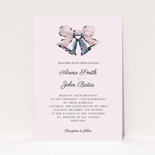 """A wedding invite card called """"Wedding bells"""". It is an A5 invite in a portrait orientation. """"Wedding bells"""" is available as a flat invite, with tones of pink and light grey."""