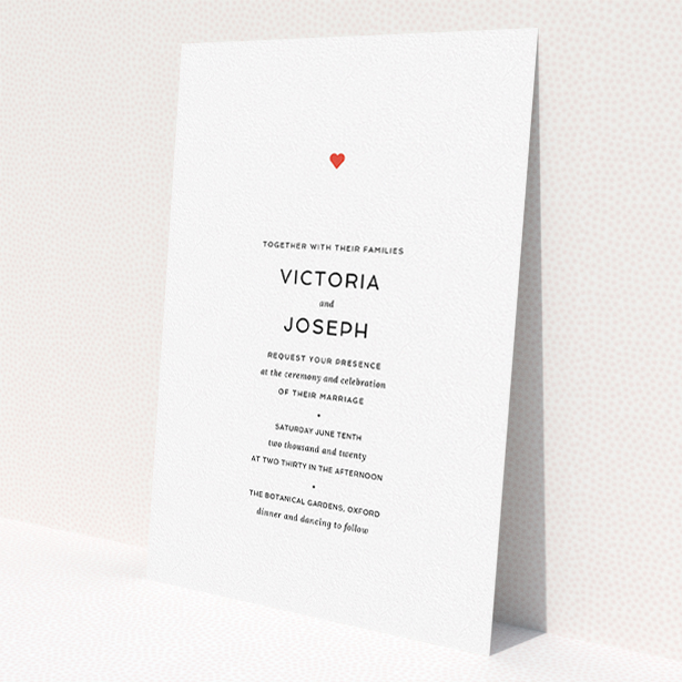 """A wedding invite card design named """"What it comes down to"""". It is an A5 invite in a portrait orientation. """"What it comes down to"""" is available as a flat invite, with tones of white and red."""