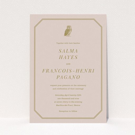 """A wedding invite card called """"Wise old owl"""". It is an A5 invite in a portrait orientation. """"Wise old owl"""" is available as a flat invite, with mainly dark cream colouring."""