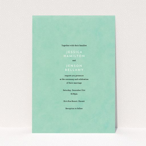 """A wedding invite card design named """"Worn Green"""". It is an A5 invite in a portrait orientation. """"Worn Green"""" is available as a flat invite, with tones of green and white."""
