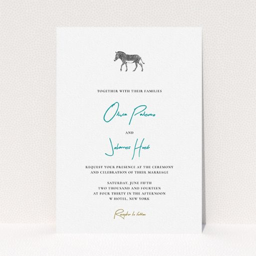 """A wedding invite card design named """"Zebra crossing"""". It is an A5 invite in a portrait orientation. """"Zebra crossing"""" is available as a flat invite, with tones of white and blue."""