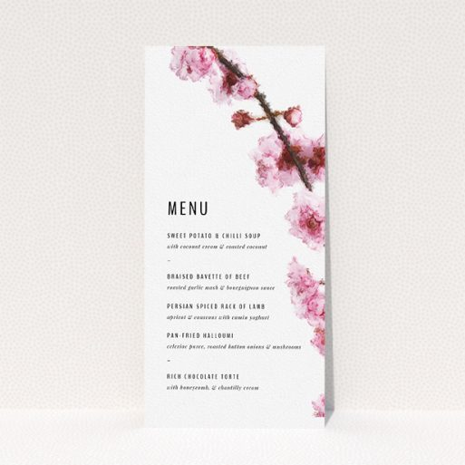 """A wedding menu card design called """"A side of Blossom"""". It is a tall (DL) menu in a portrait orientation. """"A side of Blossom"""" is available as a flat menu, with tones of pink and white."""
