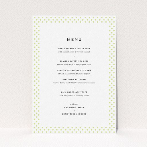"""A wedding menu card design titled """"All the dots"""". It is an A5 menu in a portrait orientation. """"All the dots"""" is available as a flat menu, with mainly cream colouring."""