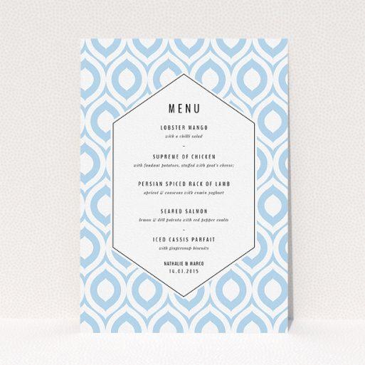 "A wedding menu card design called ""Arabian diamonds"". It is an A5 menu in a portrait orientation. ""Arabian diamonds"" is available as a flat menu, with tones of blue and white."