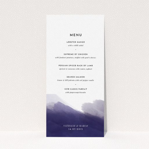 """A wedding menu card design titled """"Blue and Cream"""". It is a tall (DL) menu in a portrait orientation. """"Blue and Cream"""" is available as a flat menu, with mainly dark blue colouring."""