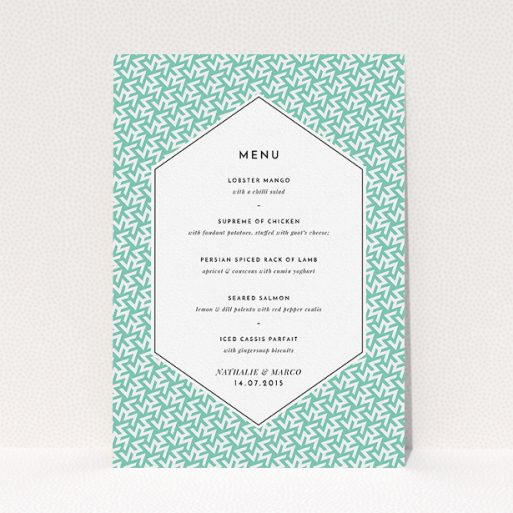"""A wedding menu card called """"Born in the 80s"""". It is an A5 menu in a portrait orientation. """"Born in the 80s"""" is available as a flat menu, with tones of green and white."""