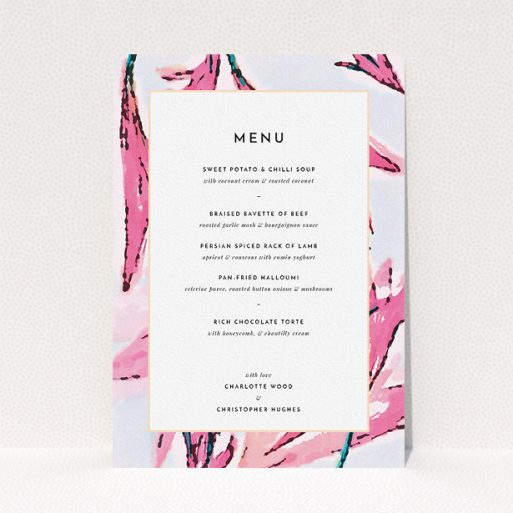 """A wedding menu card design named """"By the river bank"""". It is an A5 menu in a portrait orientation. """"By the river bank"""" is available as a flat menu, with tones of vibrant pink and green."""