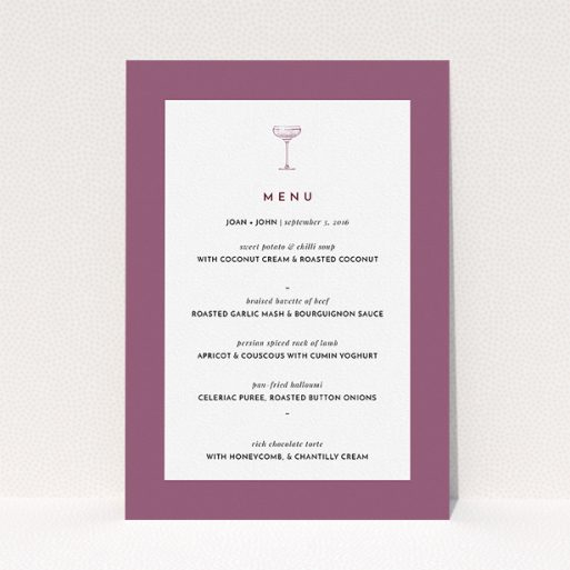 """A wedding menu card template titled """"Coupe"""". It is an A5 menu in a portrait orientation. """"Coupe"""" is available as a flat menu, with mainly purple/dark pink colouring."""