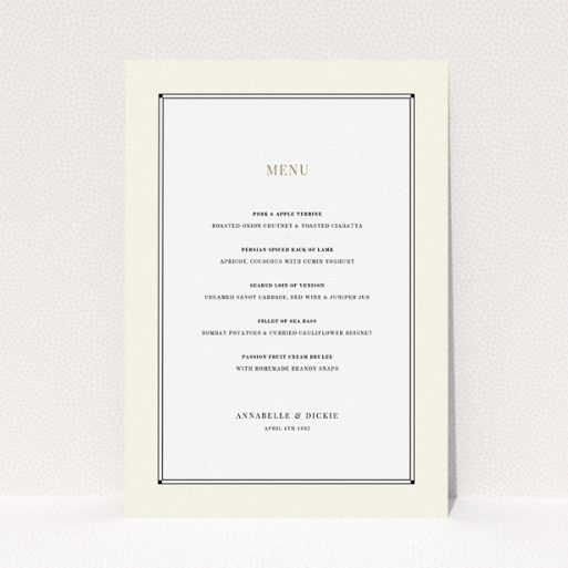 """A wedding menu card template titled """"Deco Cream"""". It is an A5 menu in a portrait orientation. """"Deco Cream"""" is available as a flat menu, with mainly cream colouring."""
