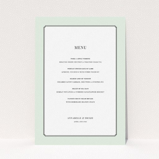 """A wedding menu card called """"Deco mint"""". It is an A5 menu in a portrait orientation. """"Deco mint"""" is available as a flat menu, with tones of green and white."""