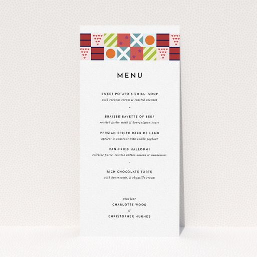 """A wedding menu card design called """"Epsom"""". It is a tall (DL) menu in a portrait orientation. """"Epsom"""" is available as a flat menu, with tones of white, orange and blue."""