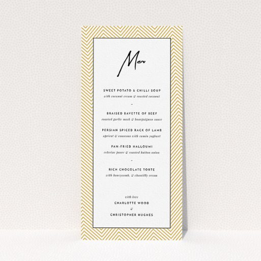 """A wedding menu card design titled """"Golden Lines"""". It is a tall (DL) menu in a portrait orientation. """"Golden Lines"""" is available as a flat menu, with tones of gold, white and black."""