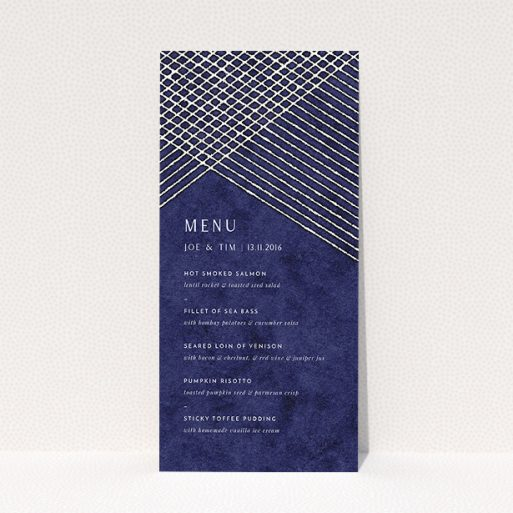 """A wedding menu card called """"In the Navy"""". It is a tall (DL) menu in a portrait orientation. """"In the Navy"""" is available as a flat menu, with tones of blue and white."""
