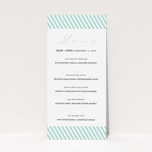 """A wedding menu card named """"Mint Diagonals"""". It is a tall (DL) menu in a portrait orientation. """"Mint Diagonals"""" is available as a flat menu, with tones of green and white."""