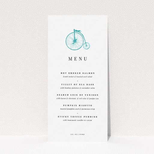 """A wedding menu card called """"On your bike new"""". It is a tall (DL) menu in a portrait orientation. """"On your bike new"""" is available as a flat menu, with tones of white and blue."""